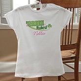 Girls Personalized Irish Shamrock Fitted T-Shirts - Green Rules