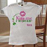 Girls Personalized Fitted T-Shirt - Kiss Me I'm Irish