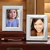 Personalized Engraved Silver Mini Picture Frame -  I Love You Design - 1135