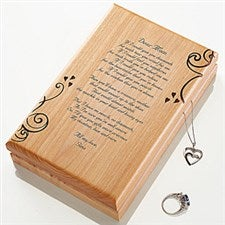 Personalized Wooden Jewelry Box Engraved for Mom - 11355