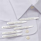 Personalized Dress Shirt Collar Stays - Secret Message - 11378