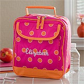 Girls Personalized Lunch Bag - Pink & Orange - 11395