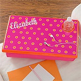 Girls Personalized Lap Desk - Pink & Orange - 11401