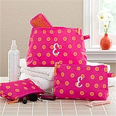 Personalized Cosmetic Case Set - Pink & Orange - 11403