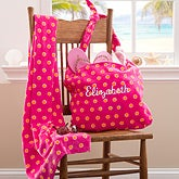 Personalized Beach Tote Bag & Beach Towel - Pink & Orange - 11405