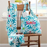Personalized Beach Tote Bag & Beach Towel Set - Daisies - 11406