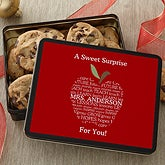 Personalized Teacher Gift Cookie Tin - Apple Scroll - 11465