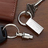 Personalized Silver Valet Key Fob With Monogram - 1151