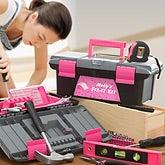 Ladies Personalized Pink Tool Kit - 53 Piece Set - 11584