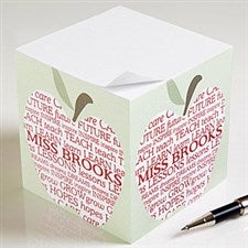 Personalized Teacher's Note Pad Cube - Apple Scroll - 11612
