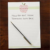 Personalized Teacher's Note Pads - Apple Scroll - 11613