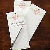 Personalized Teacher's Note Pad Set - Apple Scroll - 11614