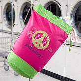 Personalized Girls Laundry Bag - Peace & Flowers - 11615