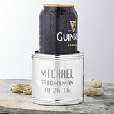 Personalized Silver Beverage Coolers - Groomsmen Design - 1162