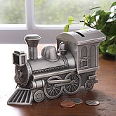 Engraved Pewter Choo-Choo Train Bank
