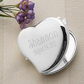 Personalized Silver Compact Mirror - Engraved Heart Design - 1164