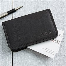 Personalized Black Leather Business Card Cases - Monogram - 11642