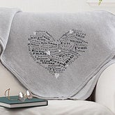 Her Heart of Love Personalized Sweatshirt Blanket