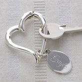 Personalized Heart Shaped Silver Key Ring - 1168