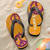 Personalized Flip Flops for Girls - Peace Sign - 11801