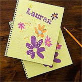 Girls Personalized Notebooks - Flowers - 11832