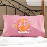 Personalized Peace Sign Pillowcase for Girls - 11933