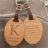 Personalized Wood Luggage Tags - Classic Monogram - 11937