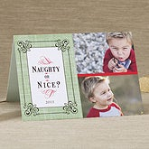 Personalized Christmas Photo Cards - Naughty or Nice - Four Photo