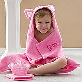 Persnalized Kids Bath Set - Kitty Towel & Wash Mitt - 11983