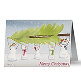 Personalized Family Christmas Cards - Snowman Christmas Tree - 11984