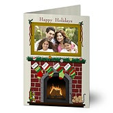 Personalized Photo Christmas Cards - Fireplace Greetings - 11987