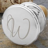 Personalized Silver Wine Bottle Stopper - Engraved Initial - 12006