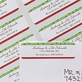 Personalized Holiday Address Labels - Green & Red Stripes - 12022