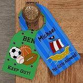 Personalized Door Knob Hanger for Boys Bedroom - 12059