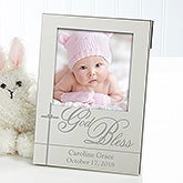 Engraved Silver Baby Picture Frames - God Bless Baby - 12081