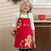 Personalized Kid's Christmas Aprons - Gingerbread Man - 12146