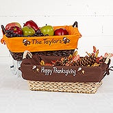Personalized Decorative Wicker Basket - Fall Leaves - 12174