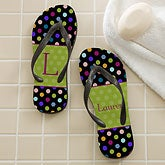 Personalized Flip Flop Sandals - Polka Dots - 12180