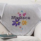 Personalized Sweatshirt Fleece Blanket - Flower Power - 12188