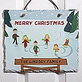 Personalized Christmas Wall Plaque - Ice Skating Family - 12192