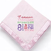 Personalized Baby Blankets for Girls - Birth Announcement - 12197