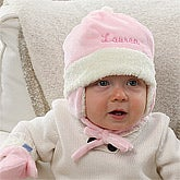 Personalized Winter Baby Hats for Girls - Pink - 12235