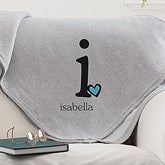 Personalized Sweatshirt Blanket with Initial Monogram - 12236
