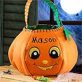 Personalized Halloween Pumpkin Trick or Treat Bag - 12242