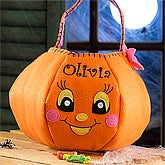 Personalized Halloween Pumpkin Girls Trick or Treat Bag - 12243