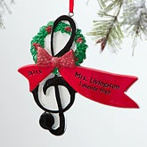 Personalized Christmas Ornaments for Musicians - Treble Clef - 12270