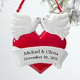 Personalized Romantic Christmas Ornaments - Love Birds - 12277