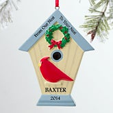 Personalized Christmas Ornaments - Holiday Birdhouse - 12278