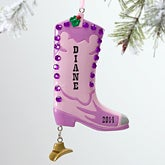 Personalized Christmas Ornaments - Cowgirl Boots - 12281