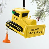 Personalized Boys Christmas Ornaments - Bulldozer - 12283